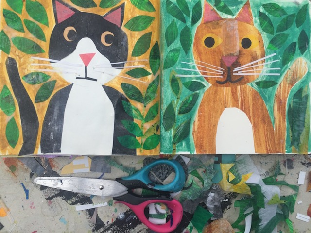 Tracey English, sketchbook, workspace, art, cats, collage