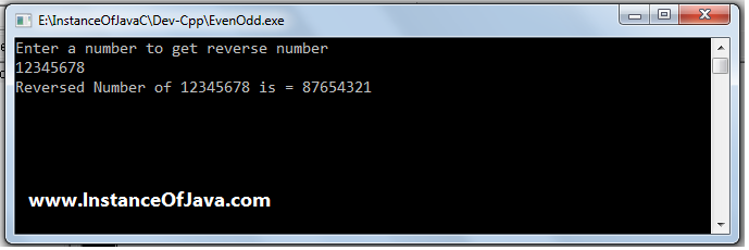 reverse number in c program