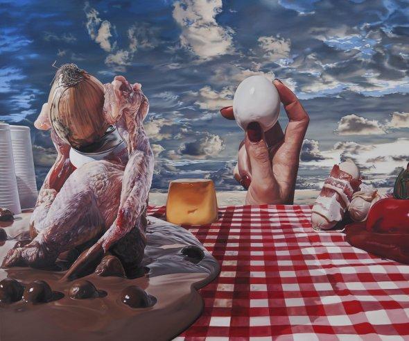 Till Rabus arte pinturas hiper-realistas surreais bizarras transformers disney comidas roupas