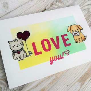 Love you card with Cupid Cuties stamp set from Clearly Besotted