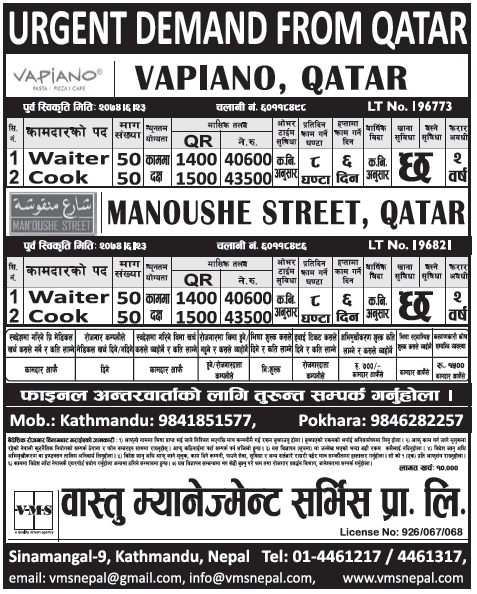 Jobs in Qatar for Nepali, salary Rs 43,500
