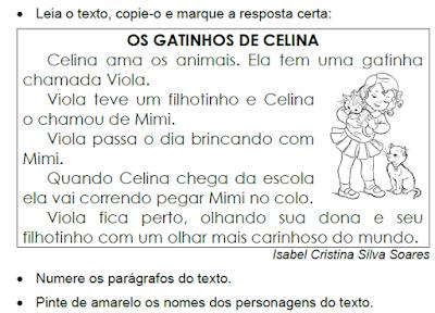 Texto OS GATINHOS DE CELINA, de Isabel Cristina Silva Soares