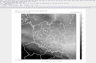 Przykładowa mapa Polski z naniesioną prognozowaną wielkością procentowego pokrycia nieba chmurami piętra wysokiego (na wcześniejszej tabeli kliknąłem w wartość 64 w kolumnie CH na czas 00:00 2 listopada). (meteomodel.pl)