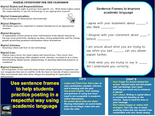 use sentence frames to help students learn how to post in a respective way when teaching about digital citizenship