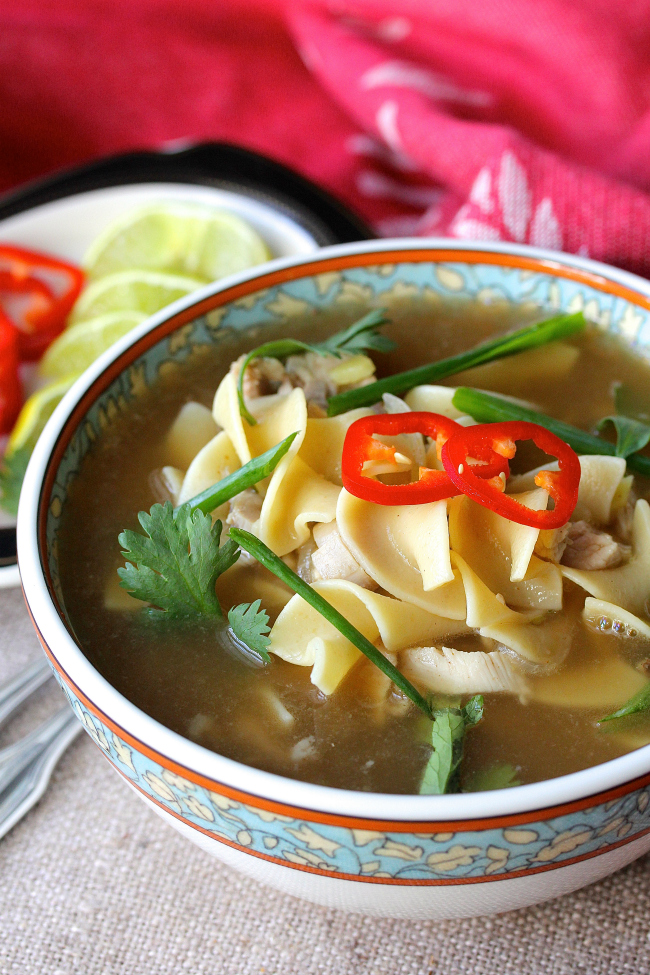 This Five Spice Turkey Noodle Soup is not your average turkey noodle soup.