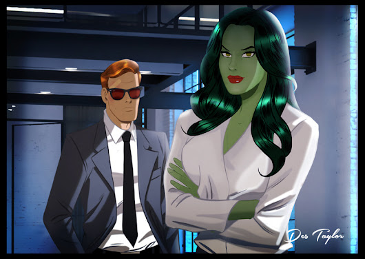 Murdock and Walters. She-Hulk and Daredevil by Des Taylor