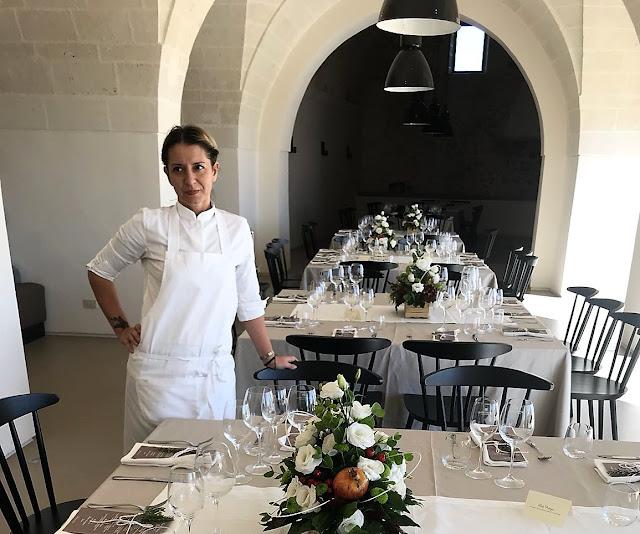 Patrizia Girardi nella sala dell'Amastuola Wine Resort