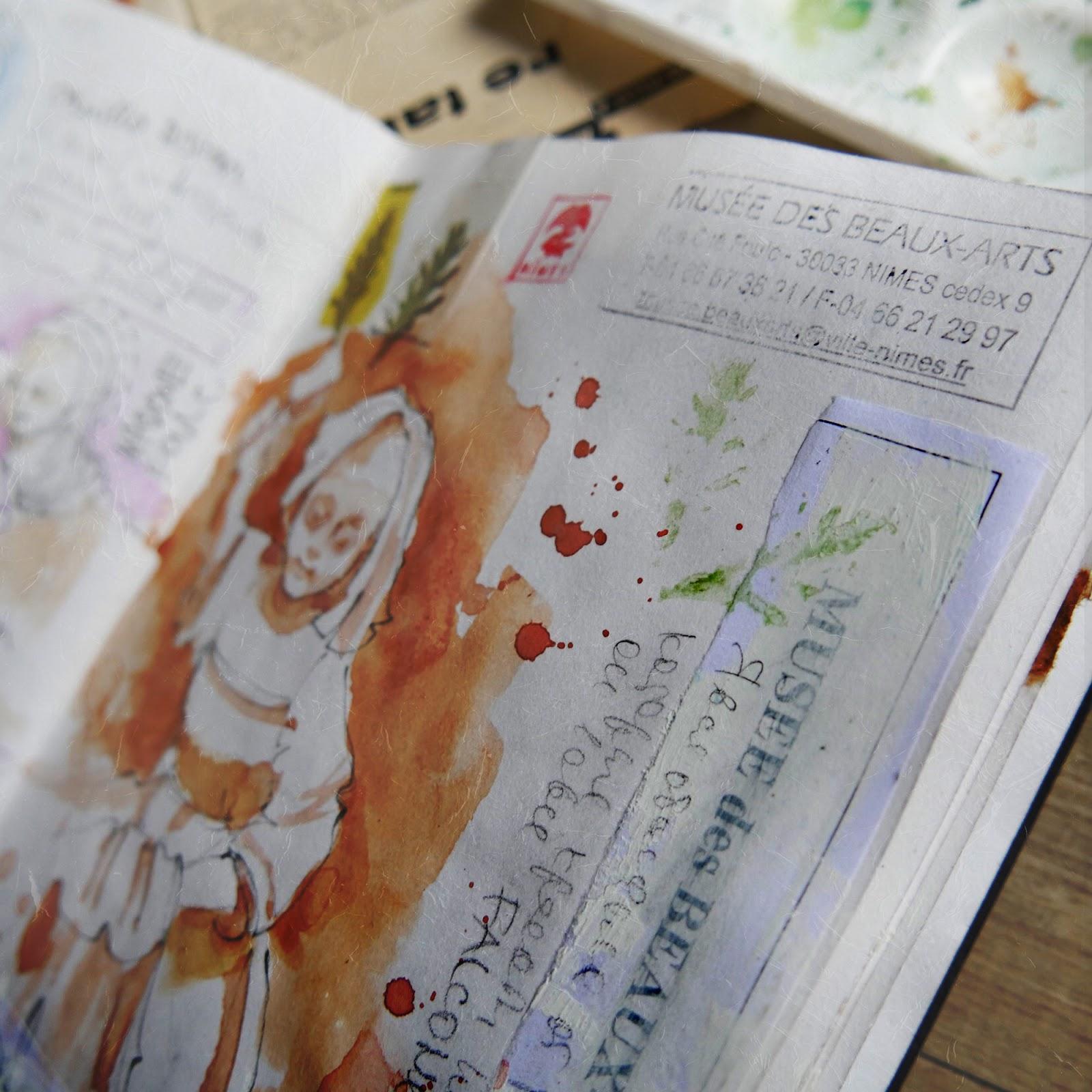 Watercolor sketchbook France Nimes  наброски франция