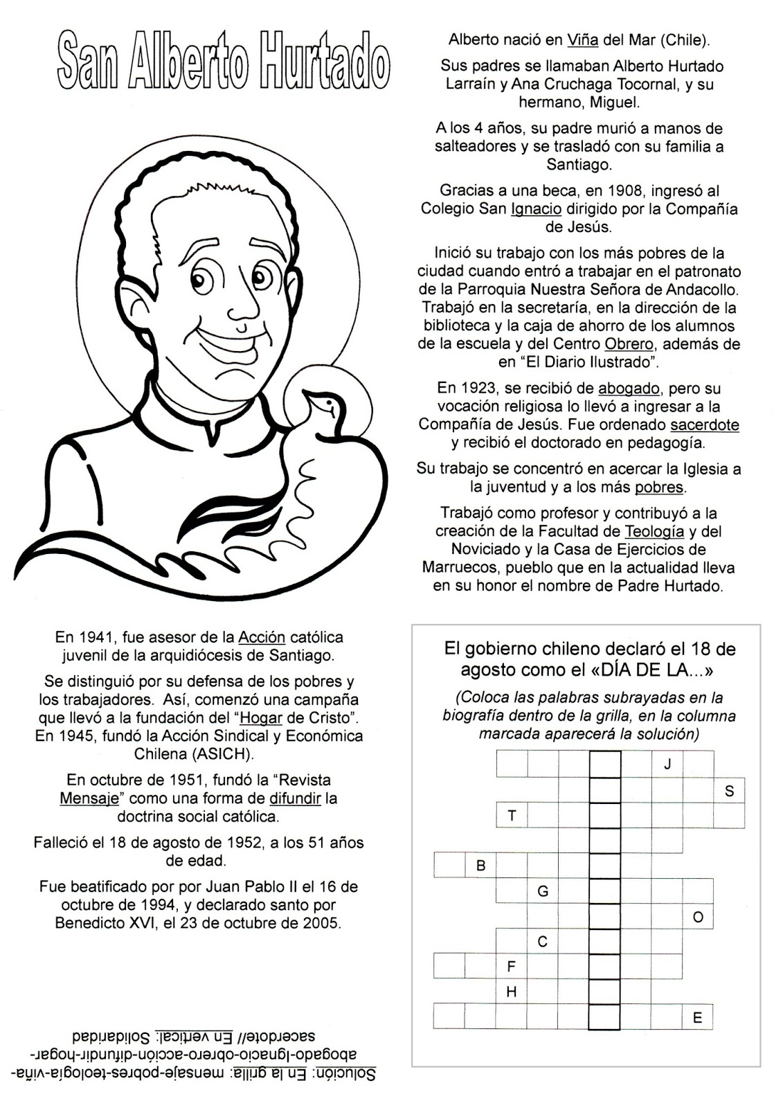 El Rincón de las Melli: San Alberto Hurtado (historia con juego)