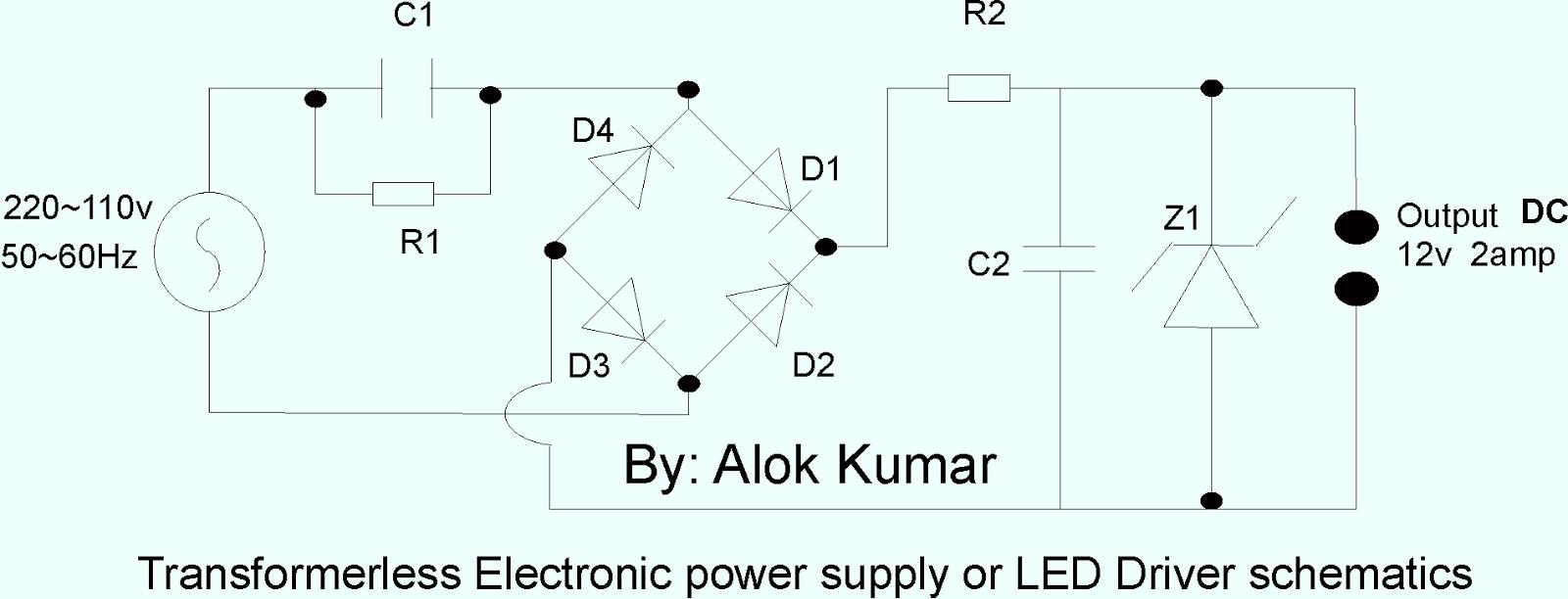 Amateur-built.: transformerless power supply for LEDs or ...