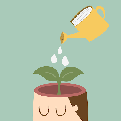 a cartoon of a watering can pouring water on a plant in a man's brain