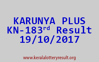 KARUNYA PLUS Lottery KN 183 Results 19-10-2017