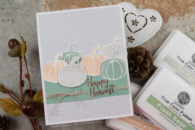 Soft, shabby, tones take over on this subtle autumn card.  Created using the Fun Stampers Journey Host Exclusive stamp set All Year Long.