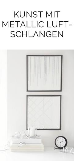 DIY Kunst Bilder mit geometrischen Mustern aus silbernen metallic Luftschlangen selbermachen. Tasteboykott.