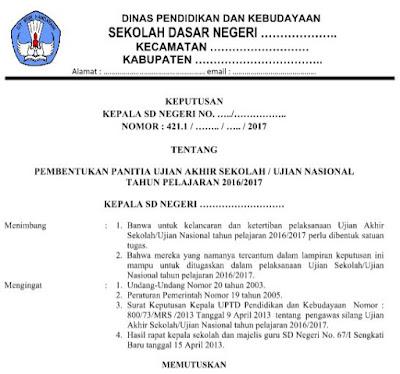 Download Contoh SK Panitia Ujian Sekolah (US/UN) SD/MI Tahun Ajaran 2016/2017