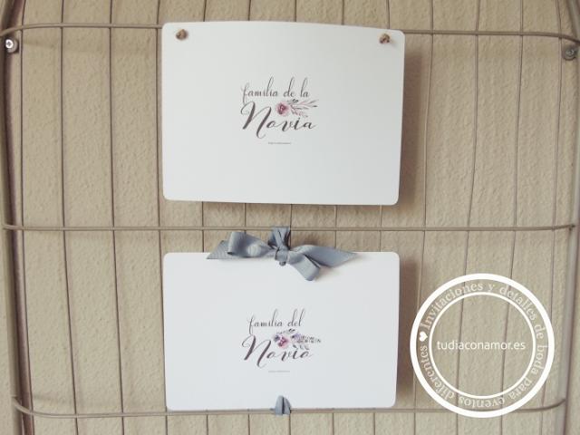 Carteles gratuitos para imprimir que sirven para reservar los sitios a vuestros familiares en la boda