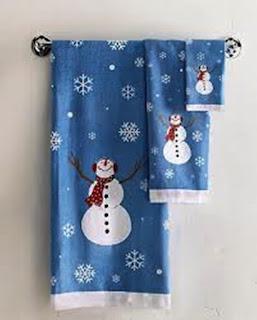 toallas de navidad azules