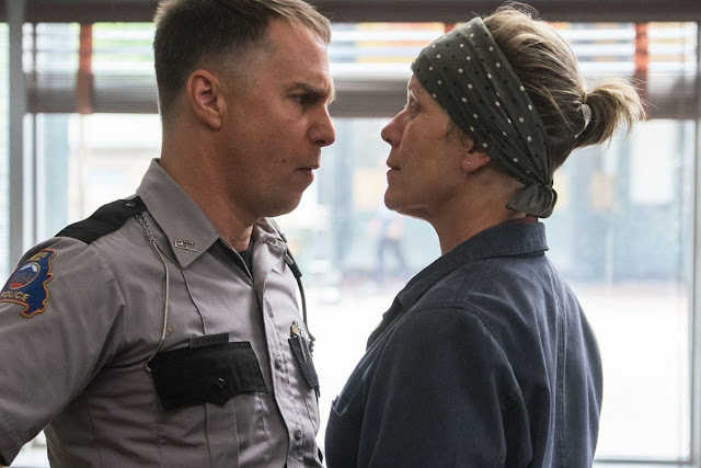 "Sam Rockwell and Frances McDormand in ""Three Billboards Outside Ebbing, Missouri"""