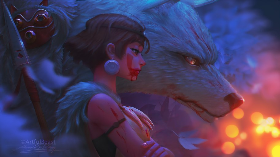 Anime Princess Mononoke Girl Wolf 4k Wallpaper 229
