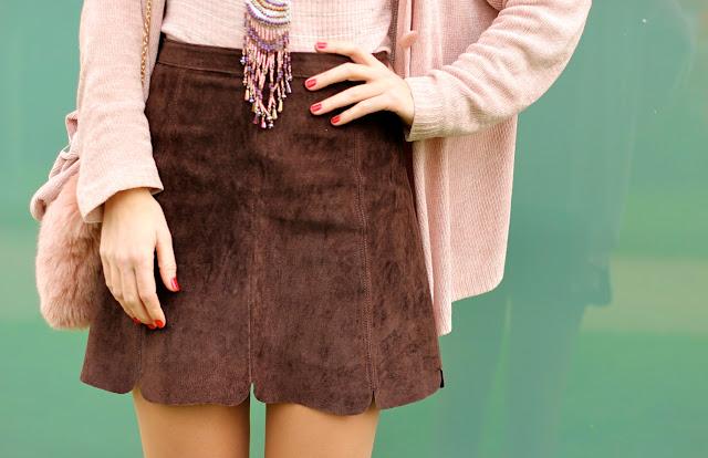 falda zara marrón