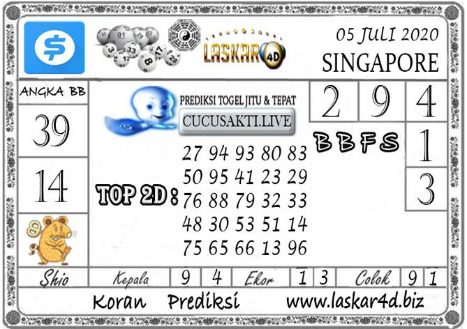 Prediksi Togel SINGAPORE LASKAR4D 05 JULI 2020