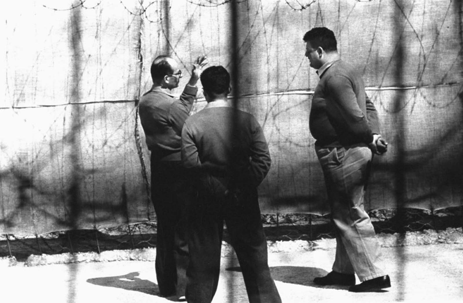 Trying to talk during the daily outdoor exercise period, prisoner Eichmann met unshakeable silence from prison guards. He was allowed to walk outside for a half hour a day, when the weather was good.