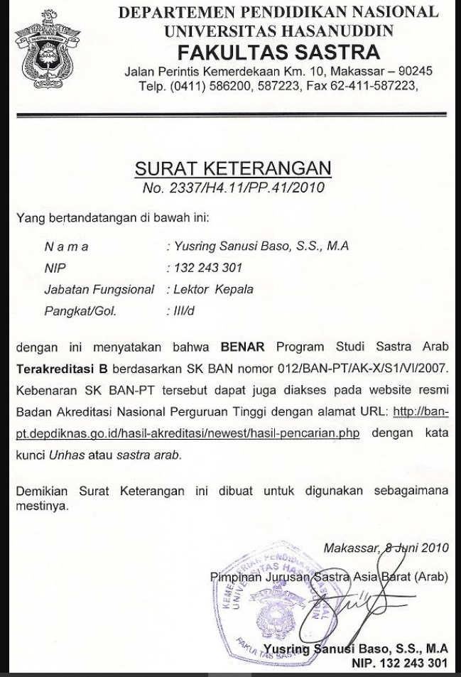 Contoh Surat Keterangan Akreditasi Dari Ban Pt