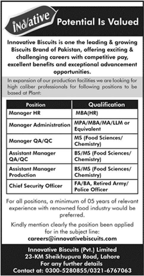 Manager HR, Manager Administration, Asst Manager, Chief Security Officer Jobs Vacancies In Lahore 2019