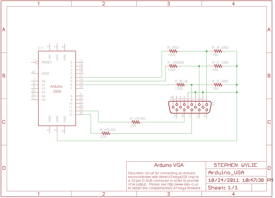 note the voltage dividers put in place to change the output of the arduino from 5 volts down to the maximum 0 7 volts allowed by vga hardware  [ 1104 x 795 Pixel ]