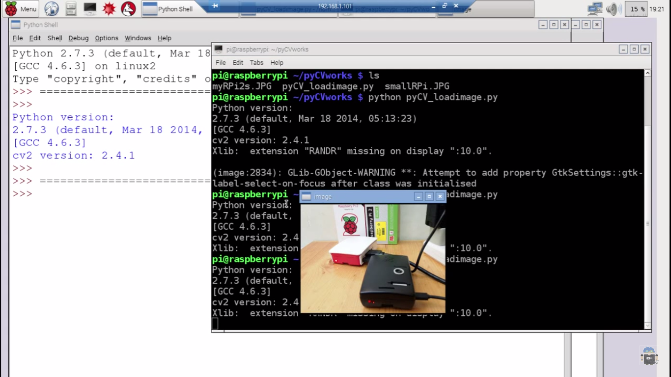 Hello Raspberry Pi: Raspberry Pi + Python/OpenCV, load and