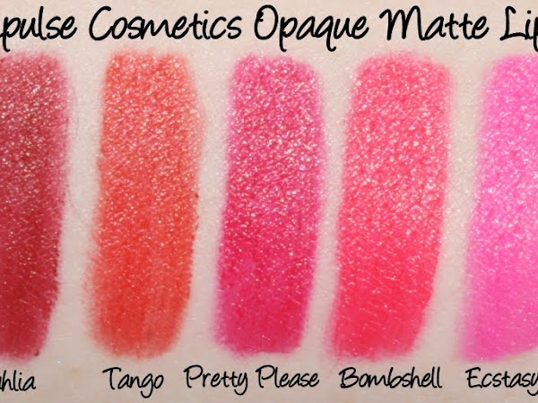Impulse Cosmetics Lipsticks - Melancholy, Pretty Please, Ecstasy, Run Away, Demure and Platonic Swatches & Review