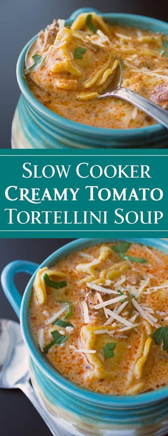 SEDUCTIVE SLOW COOKER CREAMY TOMATO TORTELLINI SOUP