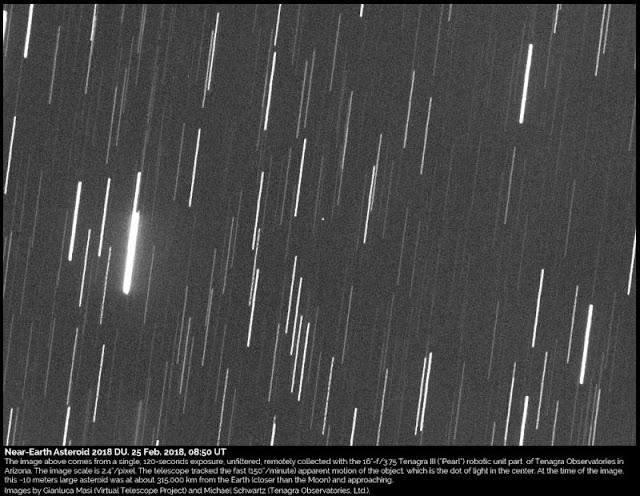 Asteroide 2018 DU registrado no dia 25 de fevereiro de 2018 por Gianluca Masi, utilizando o Observatório Tenagra