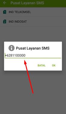 pengaturan nomor pusat layanan atau smsc sms