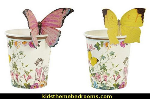 Fairy Floral Disposable Cups  fairy birthday party fairy decorations - Fairy party supplies - fairy themed birthday party ideas - woodland fairy party supplies - fairy garden party - fairy garden party supplies - fairy birthday tea party -  fairy party decorations - vintage floral fairy garden party design - butterfly garden tea party - tinkerbell party  -  Disney Tinkerbell fairy party decorations -  -