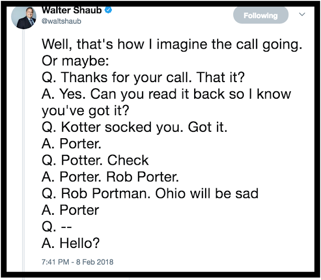 Tweet Walter Shaub 2.8.18 call to the White House about Rob Porter. Private Citizen Marchmatron.com
