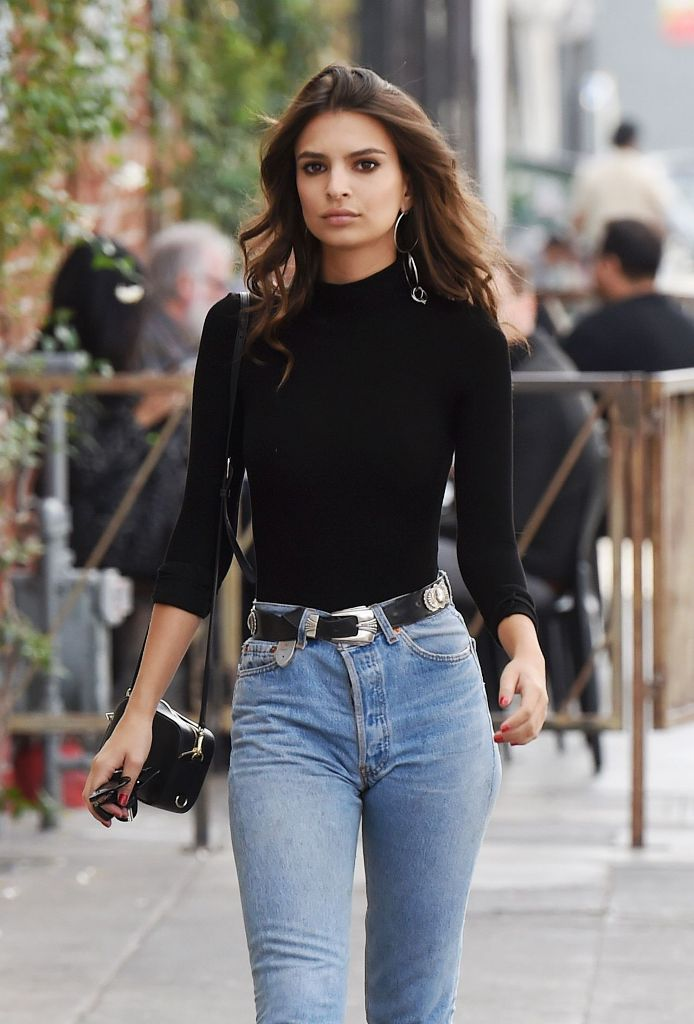 Emily Ratajkowski high street style in jeans out in Los Angeles