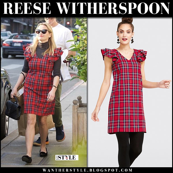 Reese Witherspoon in red check mini dress draper james angie street fashion december 16