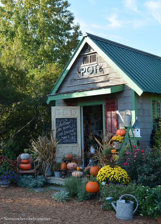 Shed with Fall Decorations
