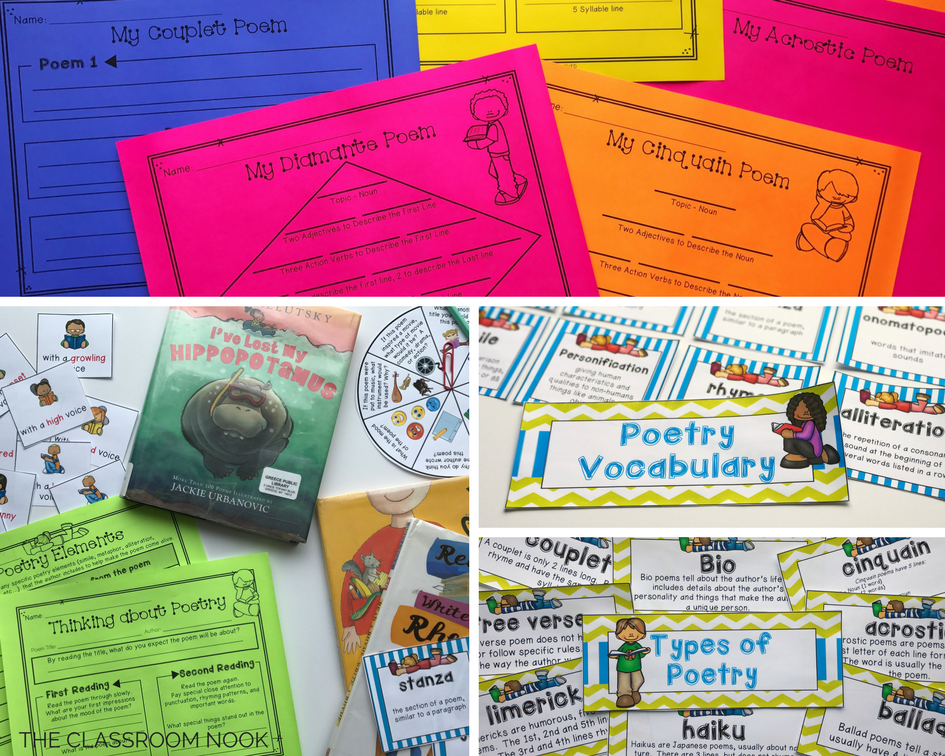 Grab these poetry resources for using in the classroom for poetry centers, guided reading groups, small group discussions, and reading and writing activities