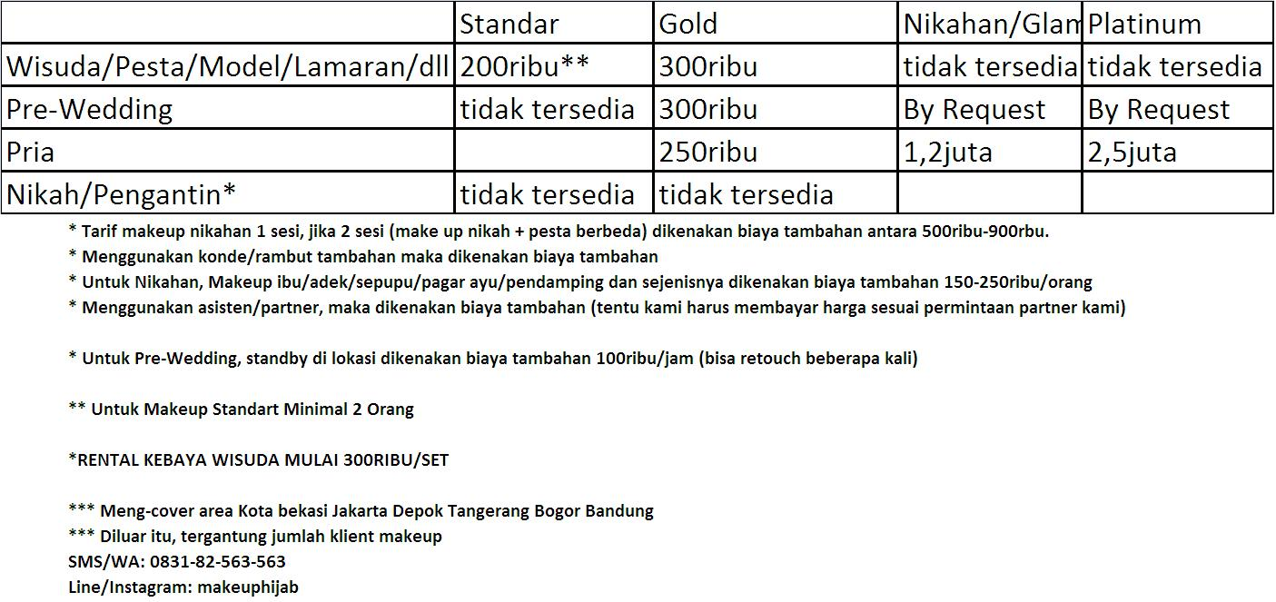 Exceptionnel Tarif / Price List - Jasa MakeUp Artist PQ38