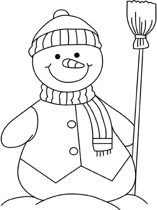 Tranh tô màu người tuyết cầm chổi