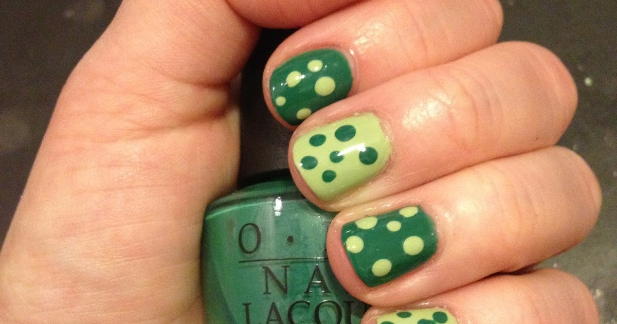 The Beauty Of Life Almost St Patrick S Day Nail Art Polka Dots With Essie And Opi