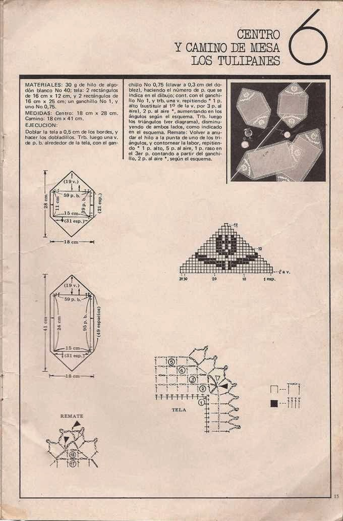 Patrón de centro y camino de mesa
