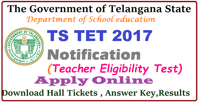 Telangana State Teachers Eligibility Test (TSTET) Notification 2017, Eligibility and Apply Online The Government of Telangana State is going to conduct Telangana State Teacher Eligibility Test and release a Notification in concerned to TS TET Notification 2017. It is a chance for getting eligibility to apply for TS DSC. Department of School Education DSC is going to announce TSTET Notification 2017 for Telangana State Eligibility Test. The State Government of Telangana has updated the TSTET application form 2017 at its Official Website . So, that applicants can apply quickly. All the aspirants can apply online for this test only through Online mode only at www.tstet.cgg.gov.in. All the applicants must remember that they have to submit their Telangana TET Online application 2017 form till the day given in the Notification. Aspirants who want to apply for Telangana TET 2017 ,have to check its Eligibility Criteria which are given below. TS TET 2017 latest information ,Exam dates, Hall Tickets/admit card,syllabus,Results are kept in the TSTET Official webportal www.tstet.cgg.gov.in /2017/04/telangana-state-teachers-eligibility-test-tstet-2017-notofication-apply-online-halltickets-important-dates-tsdeecet.cgg.gov.in.html
