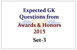 Expected GK Questions from Awards and Honors 2015 Set-3