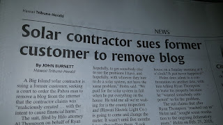 Pro Solar Hawaii sues me to remove my blog.