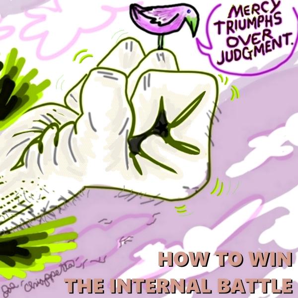 Comic illustration of how to win the internal battle - by Joe Chiappetta