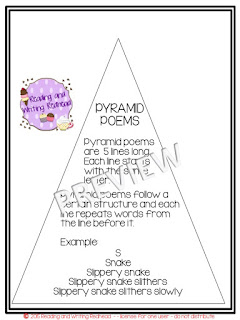 Pyramid Poems #poetry #classroomfreebies