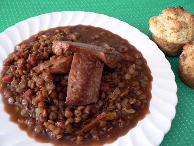 Spicy Lentils with Sausage recipe